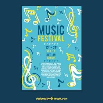 Conceito de folheto amarelo e azul para festa de música