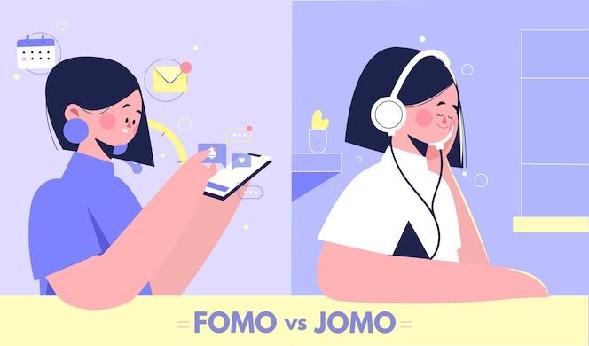 Conceito de fomo digital e orgânico versus jomo