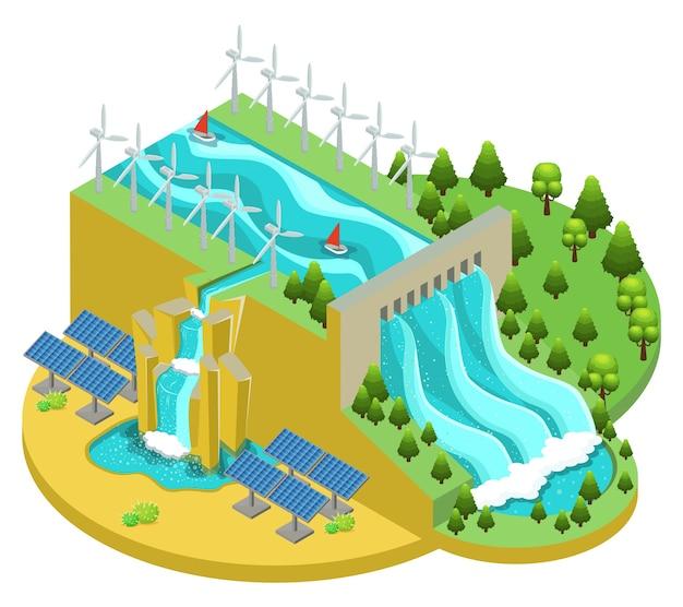 Conceito de fontes de energia alternativas isométricas com moinhos de usinas hidrelétricas e painéis solares