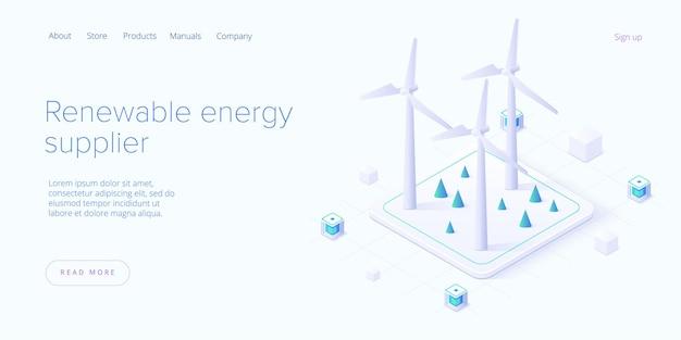 Conceito de fontes de energia renováveis em estilo isométrico