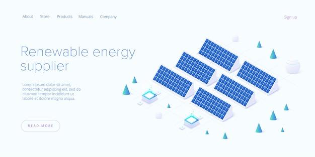 Conceito de fontes de energia renováveis na página de destino de ilustração isométrica