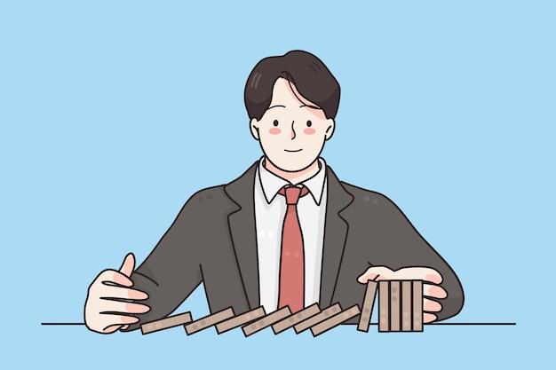 Conceito de força de falha de estratégia de negócios