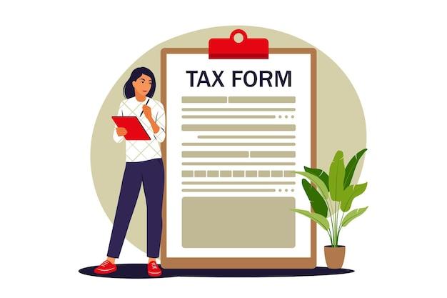 Conceito de formulário de imposto. pagamento de impostos online. ilustração vetorial. plano
