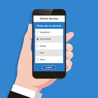 Conceito de formulário de pesquisa online na ilustração vetorial de tela do telefone móvel.