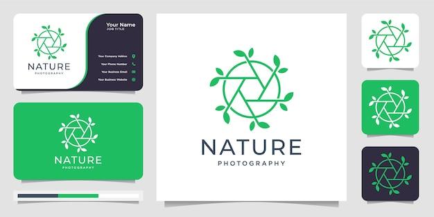 Conceito de fotografia de natureza e lente. modelo de design de logotipo de círculo e cartão de visita Vetor Premium