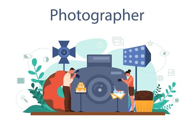 Conceito de fotógrafo de comida