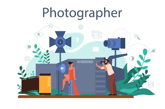 Conceito de fotógrafo. fotógrafo profissional com câmera tirando foto de um modelo. cursos de ocupação artística e fotografia. ilustração em vetor plana isolada