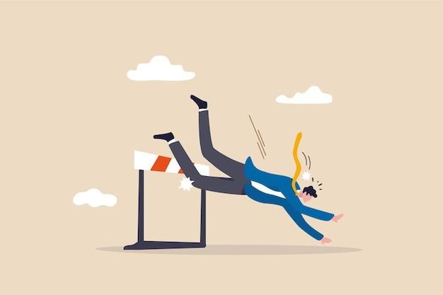 Conceito de fracasso empresarial com empresário caindo