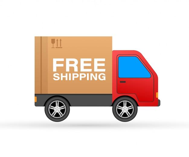Conceito de frete grátis. caminhão de entrega transportando um pacote de papelão.