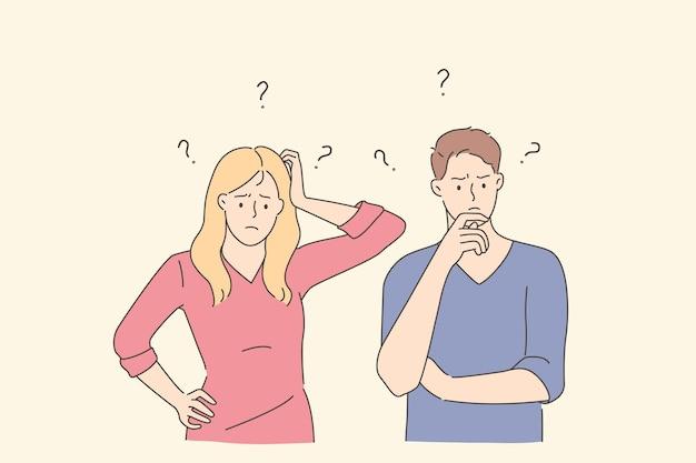 Conceito de frustração, desafio e pergunta. jovem casal frustrado, homem e mulher, personagens de desenhos animados em pé tocando rostos e sentindo dúvidas com pontos de interrogação acima da ilustração vetorial