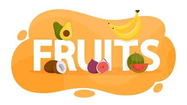 Conceito de frutas. alimentos orgânicos cheios de vitaminas