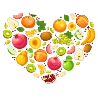 Conceito de frutas naturais coloridas