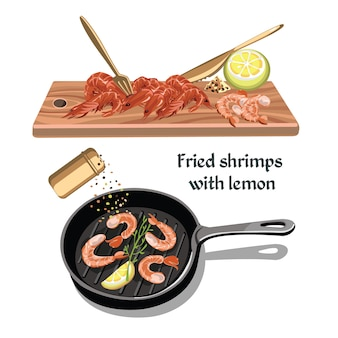 Conceito de frutos do mar de esboço colorido