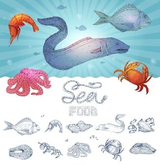 Conceito de frutos do mar desenhados à mão