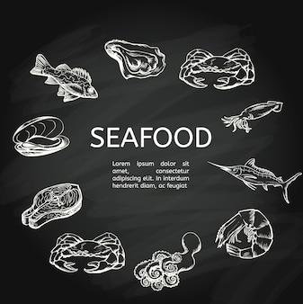 Conceito de frutos do mar na lousa
