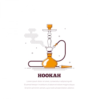 Conceito de fumar cachimbo de água. ícone de shisha. fume cachimbo e relaxamento.