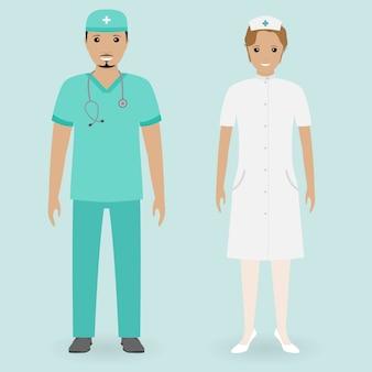 Conceito de funcionários do hospital. enfermeiras masculinas e femininas em pé juntos. pessoas médicas.