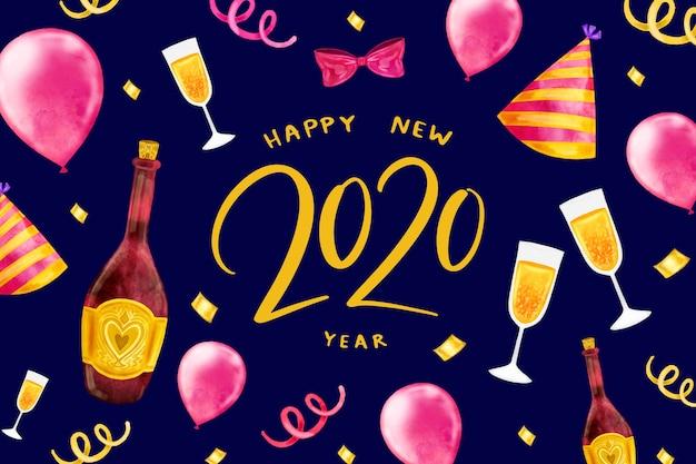 Conceito de fundo aquarela ano novo 2020