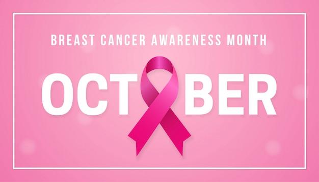 Conceito de fundo de cartaz de mês de conscientização de câncer de mama de outubro