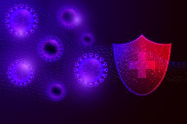 Conceito de fundo de escudo de proteção contra coronavírus