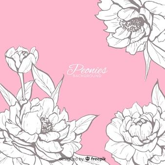 Conceito de fundo de flores de peônia