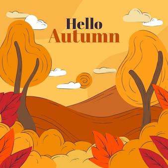 Conceito de fundo de outono desenhado
