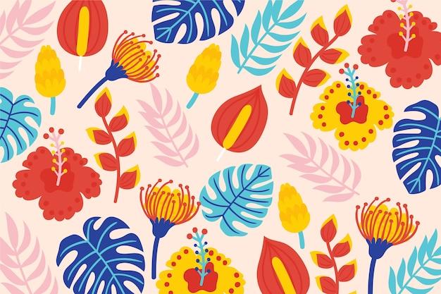 Conceito de fundo floral exótico colorido