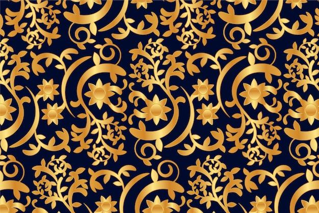 Conceito de fundo floral ornamental dourado