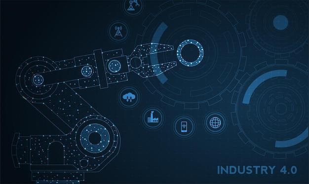 Conceito de fundo hud futurista robótico de tecnologia robótica de maquinário de automatização