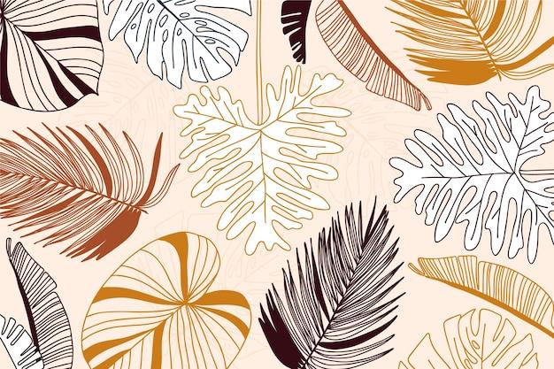 Conceito de fundo linear folhas tropicais