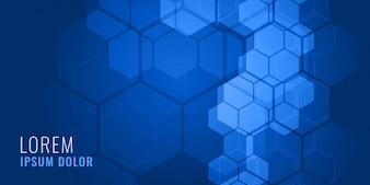 Conceito de fundo médico de forma hexagonal azul