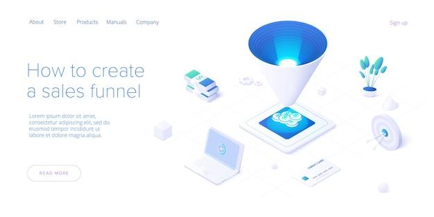 Conceito de funil de vendas na ilustração isométrica. modelo da web.