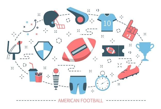 Conceito de futebol americano. jogo de esporte com bola oval