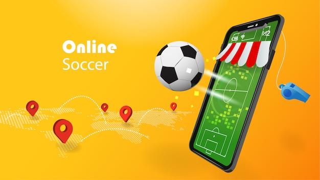Conceito de futebol on-line com telefone celular 3d e futebol em fundo amarelo com pino de localização de mapa de mundo.