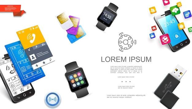 Conceito de gadgets modernos realistas com smartwatches usb flash drive sim cards design de interfaces móveis de smartphone e ilustração de ícones de aplicativos,