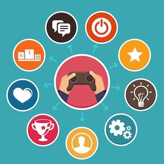 Conceito de gamification de vetor em estilo simples