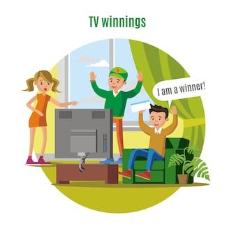 Conceito de ganho de loteria de tv