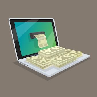 Conceito de ganhos ou receitas online na rede. obtendo dinheiro do computador. ilustração