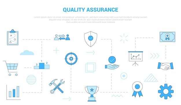 Conceito de garantia de qualidade com banner de modelo de conjunto de ícones com estilo moderno de cor azul
