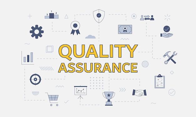Conceito de garantia de qualidade qa com conjunto de ícones com uma palavra grande ou texto no centro