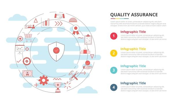 Conceito de garantia de qualidade qa para banner de modelo de infográfico com informações de lista de quatro pontos