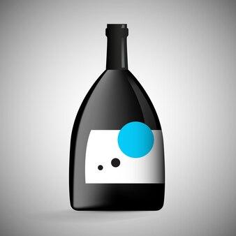 Conceito de garrafa de vinho em ilustração de fundo gradiente. rótulo de modelo em branco de vidro preto