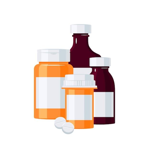 Conceito de garrafas de farmácia. frascos para injectáveis de medicamento laranja e castanho.