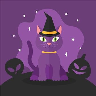 Conceito de gato de halloween de design plano
