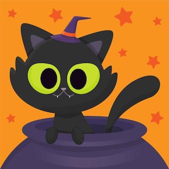 Conceito de gato de halloween desenhado à mão
