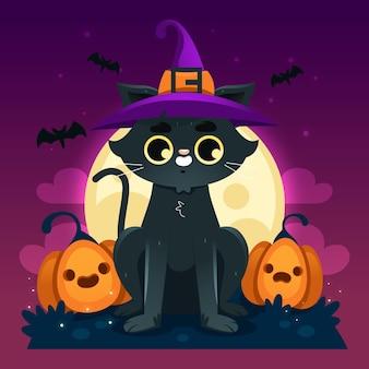 Conceito de gato de halloween plana
