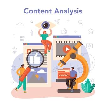 Conceito de gerenciador de conteúdo. ideia de estratégia e conteúdo digital