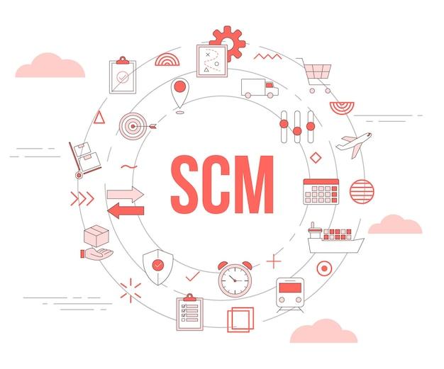 Conceito de gerenciamento de cadeia de suprimentos de scm com banner de modelo de conjunto de ícones e formato redondo de círculo