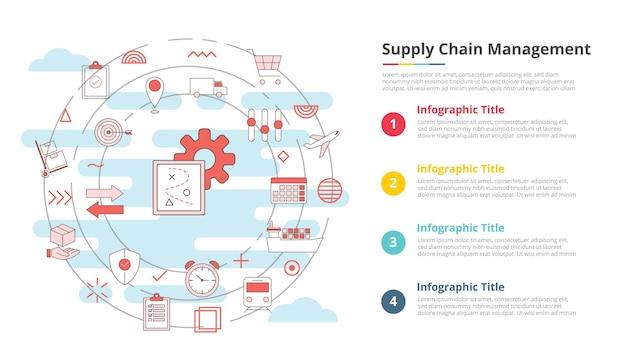 Conceito de gerenciamento de cadeia de suprimentos de scm para banner de modelo de infográfico com informações de lista de quatro pontos