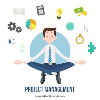 Conceito de gerenciamento de projeto plana com homem fazendo yoga